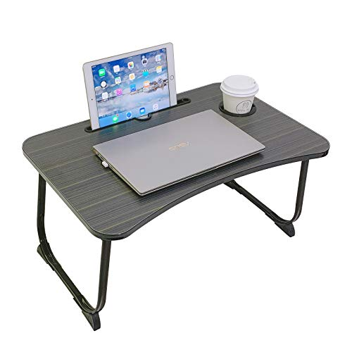 Lap Desk,Foldable Laptop Bed Tray Table,Adjustable Laptop Stand for Bed with lap Table Slot and Cup Holder for Eating,Working,Reading on Bed&Sofa,Bed Desk for Kids on Picnic&Playing,Balck&Brown Stripe