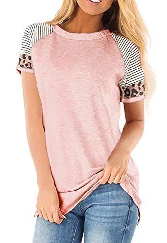 Odosalii Damen Pullover Rundhals Oberteil Damen Langarmshirts Sweatshirt T-Shirt Elegante Leoparden Splice TunikaTops (S-Rosa, M)