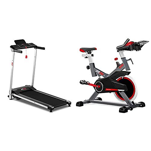 Fitfiu Fitness MC-160 Cinta de Correr Plegable ultracompacta + BESP-100 Bicicleta Indoor con Disco de inercia de 16 kg y Resistencia Regulable