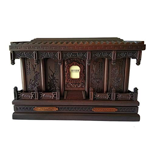 BUYT Urns for Ashes Adult Urns for Human Ashes Cremation Urns Forever Memory Box Woodcarving Craftsmanship Bamboo Chrysanthemum (Black Rosewood, 400 Cubic Inches)