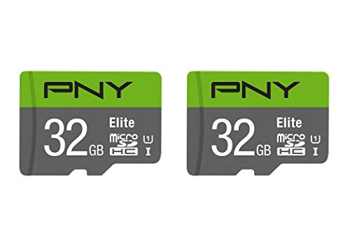 PNY 32GB Elite Class 10 U1 microSDHC Flash Memory Card 2-Pack, Green, Model Number: P-SDU32X2U185EL-GE