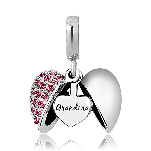 KunBead Grandma Nana Granddaughter Heart I Love You Crystal Bead Charms for Bracelets for Women Girl