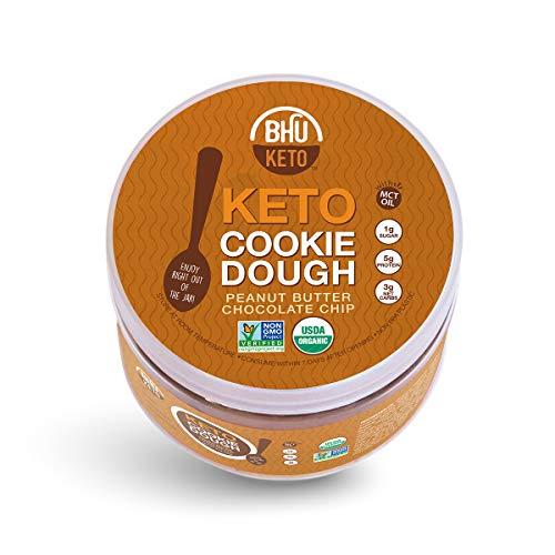 BHU Keto Cookie Dough Snack Jar, Peanut Butter Chocolate Chip - 3g Net Carbs, 1g Sugar - An Organic & Vegan Dessert Snack free from Grain, Gluten and Dairy (9oz)