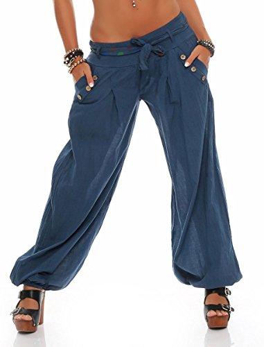 Malito Damen Pumphose in Unifarben | leichte Stoffhose | super Freizeithose für den Strand | Haremshose - lässig 3417 (Jeansblau)