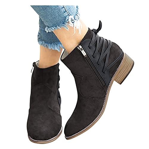 Dwevkeful Damen Stiefeletten Damenmode Casual Spitz Reißverschluss High Heel Kurze Nackte Stiefel Schuhe Elegant Knöchelschuhe Bequeme Ankle Boots Retro Cowboy Stiefel Biker Boots