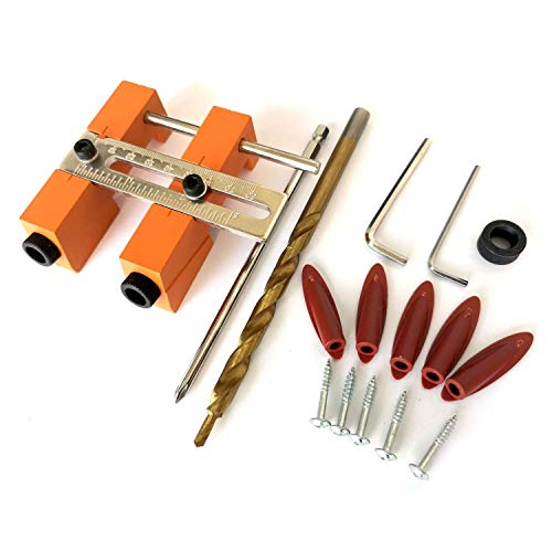 LKK-KK Adjustable Double Pocket Hole Jig System 9.5Mm 3/8 Drill Bits Doweling Drilling Jig Punch Locator Woodworking Drill Guide Tool