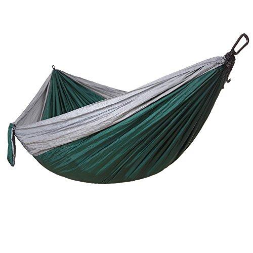 Hamac ultra-léger de voyage camping,respirante,nylon à parachute à séchage rapide,300 kg capacité de charge,260*140cm,2 x mousquetons de qualités, 2 x sangles de nylon Inclus,1 sac d'emballage,pour jardin d'interieur ou extérieur , gray + dark green