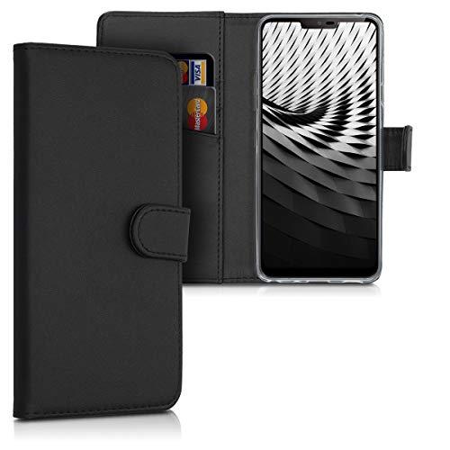 kwmobile Wallet Hülle kompatibel mit LG G7 ThinQ/Fit/One - Hülle Kunstleder mit Kartenfächern Stand in Schwarz