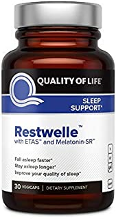 Quality of Life Sleep Support - Restwelle – Premium Natural Sleep Aid Supplement – Non Groggy formula with ETAS and Melatonin SR – Fall asleep Faster and Sleep Deeper – Non Habit Forming – 30 Capsules