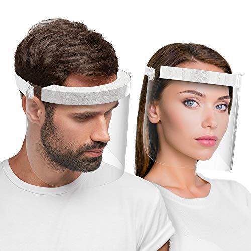 Hard 1 x Visiera protettiva per il viso, certificato medico Face Shield Antinebbia protezione da liquidi Prodotto in Germania, per Adulti - Bianco