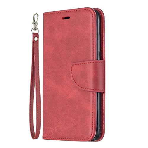 Lomogo Flip Cover Huawei P10 Lite, Custodia Portafoglio a Libro Pelle Porta Carte Chiusura Magnetica Antiurto Leather Wallet Case per Huawei P10Lite - LOBFE150332 Rosso