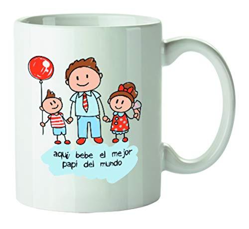 Kembilove Tazas de Desayuno Originales para Padres – Taza con Mensaje Aquí Bebe el Mejor Papi del Mundo – Taza de Desayuno para Regalar el día del Padre – Tazas de Café para Padres y Abuelos