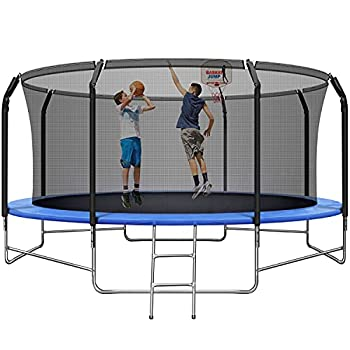 14FT Trampoline with Basketball Hoop Adult Trampoline with Balance Bar and Safety Enclosure Net ASTM Approved Outdoor Trampoline for Kids & Adults with Jump Mat Spring Cover & Ladder