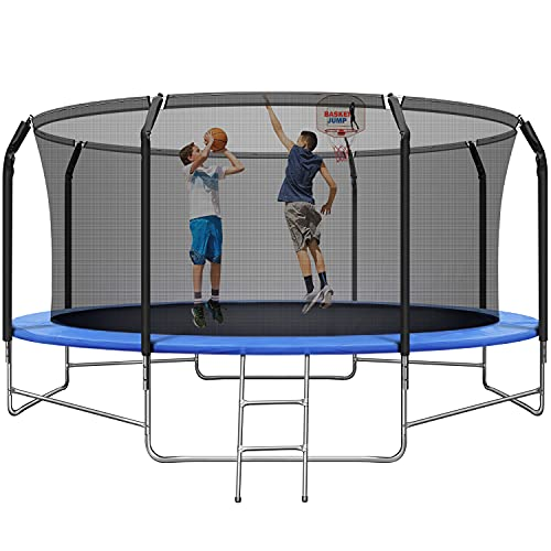 14FT Trampoline with Basketball Hoop, Adult Trampoline with...