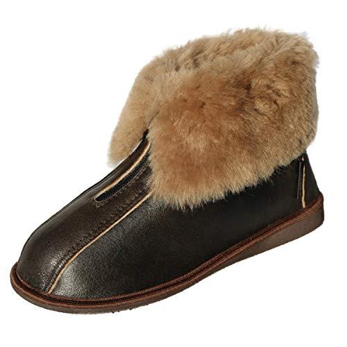 Damen & Herren Lammfell Hausschuhe Alaska Dunkelbraun Fellschuhe mit Reißverschluss 100% Merino Schaffell für Wohlgefühl - warm, atmungsaktiv Schuhgröße 42