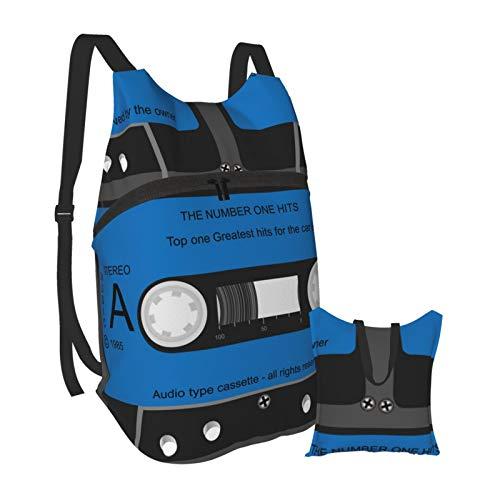 Risating Faltbarer tragbarer Rucksack für Männer und Frauen, Kassettenband, leicht, verstaubar, Tagesrucksack, wasserabweisend, klein, leger, handlich, Outdoor-Tasche für Wandern und Camping