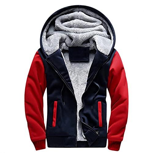 BIKETAFUWY Chaqueta de forro polar con capucha para hombre con forro polar, chaqueta de invierno para exterior, forro de felpa, clida, ocio, entretiempo, abrigo de invierno para hombres, D-rojo., M