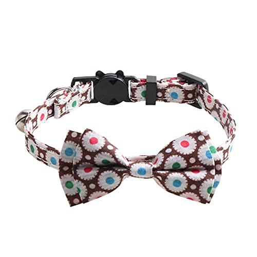 newhashiqi Corbata de gatos lindo collar corbata con campana decorativa multicolor piel amistosa café oscuro