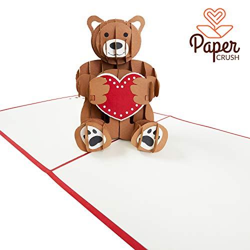 """PaperCrush® Pop-Up Karte Liebe """"Teddy mit Herz"""" - 3D Geburtstagskarte für Sie (Frau oder Freundin), Lustige Liebeskarte mit Teddybär für Geburtstag, Hochzeitstag oder Jahrestag"""