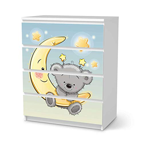 creatisto Möbel-Folie für Kinder - passend für IKEA Malm Kommode 4 Schubladen I Tolle Möbelfolie für Kinder-Möbel Deko I Design: Teddy und Mond