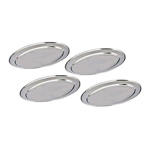 Kosma Lot de 4 assiettes ovales en acier inoxydable avec plateau à viande et plateau ovale 45 cm