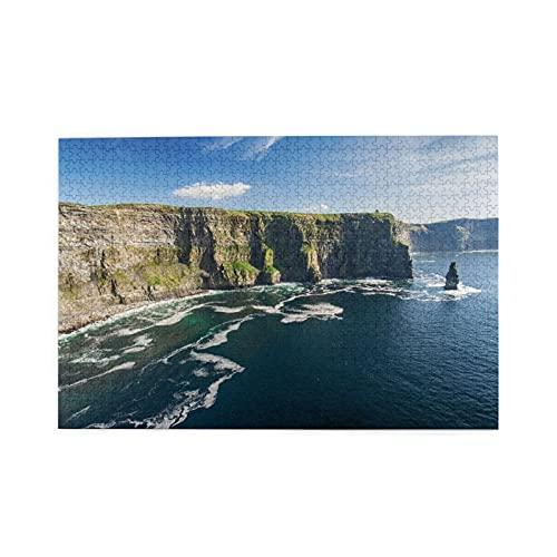 Rompecabezas de 1000 piezas,atracción turística aérea en el campo de Irlanda en el condado de Clare,ilustraciones de juegos de rompecabezas para familias grandes para adultos y adolescentes