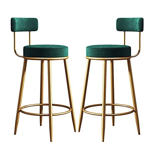 Silla Alta Juego de 2, Taburetes de bar de 2 juegos con respaldo, silla de bar de terciopelo con patas de metal, taburetes modernos para mostrador de cocina, isla o mesa de comedor Taburete alto