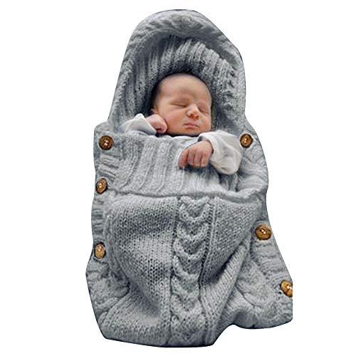 XMWEALTHY Newborn Baby Wrap Swaddle Blanket Knit Sleeping Bag Receiving Blankets Stroller Wrap for Baby(Dark Gray) (0-6 Month)