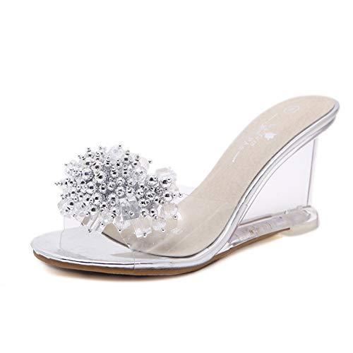 Frauen Keilabsatz Sandalen Kristall Transparente Slip auf High Heels Kristall Sommer Glas Strass Offene Spitze Party Kleid Schuhe