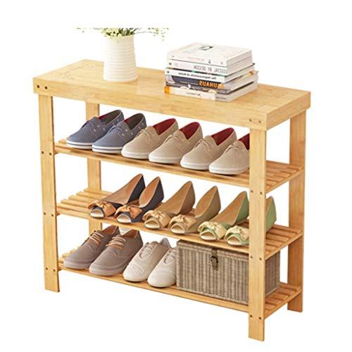 Bambú natural zapatero Banco Ecológico Bambú 4-Tier Independientes del zapato del organizador del almacenaje estante de madera del sostenedor del asiento principal Puerta de entrada Pasillo Muebles