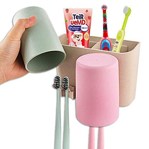 Zahnbürstenhalter, Wandmontage, 2 Becher, elektrische Zahnbürste, Zahnpasta, Aufbewahrungs-Set für Kinder, Badezimmer