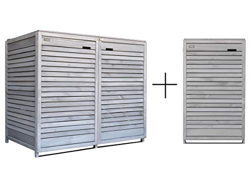 Fairpreis-design Mülltonnenbox Mülltonnenverkleidung 3 Tonnen Holz 120 L - 240 L hell-grau inkl. Rückwand vorimprägniert vormontiert Müllcontainer Mülltonnenschrank Mülltonne Mod.Adr.