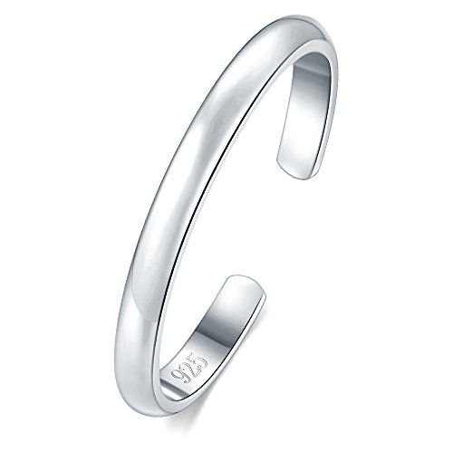 925 Sterling Silver Toe Ring, BoRuo Hypoallergenic Adjustable Band Ring 2mm