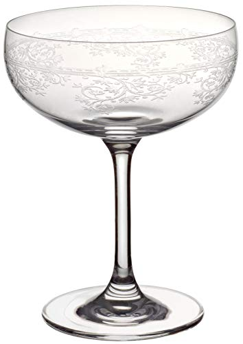 CRISTALICA Sektschale Schaumweinschale Champagner Kristallglas 280ml Panto Floral