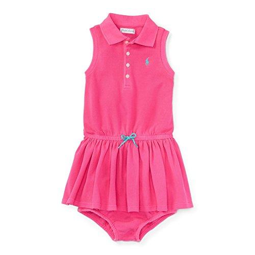 Ralph Lauren Vestido tipo polo sin mangas para niña - rosa - 6 meses