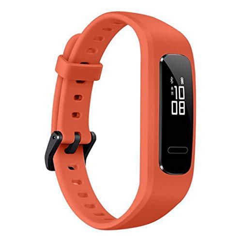 Qiulip Polsband Band Horlogeband TPU Verstelbare Armband Sport Vervanging Voor Huawei 3E/ Honor Band 4 Hardloopversie, ORANJE