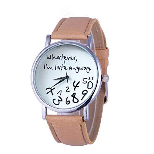NANSHAN SFACN 2 PCs Alphanumerische Lederarmbanduhr, Graffiti Personalisierte Uhr (Color : Beige)