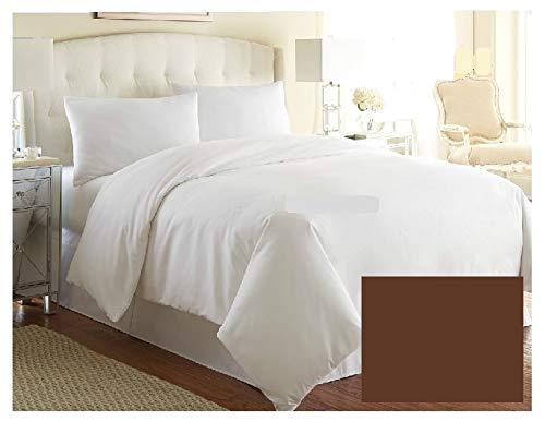 Funda de edredón de lujo para cama de matrimonio, color liso, calidad de hotel, más de 20 colores (marrón)