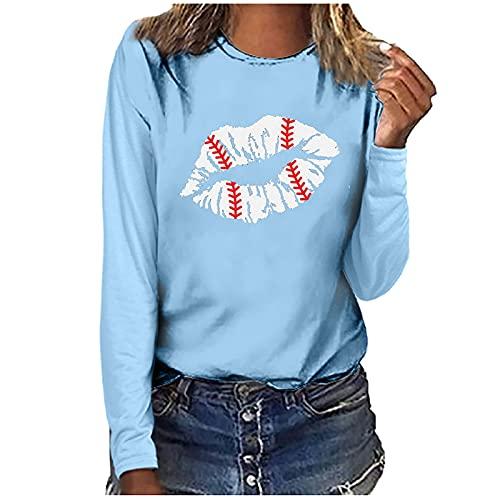 Nuevo 2021 Camiseta Manga Larga de mujer, otoño Elegante Casual impresión Blusa basic gótico camisa Cuello redondo Cómodo Camiseta Suelto Tops fiesta primavera T-Shirt Largo original