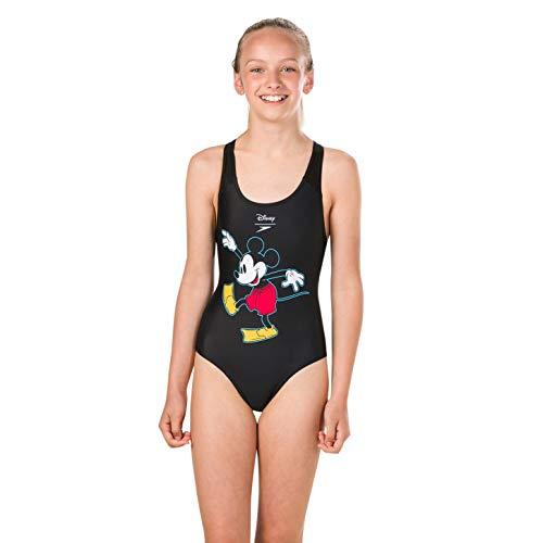 Speedo Girls' Disney Mickey Mouse Swimsuit, Surfmickey Black/Red/Yellow, 128 CM Size 26