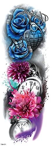 Flores De Colores Reloj Mapa Brazo Completo 17X48cm-3Pcs Tatuaje Temporal A Prueba De Agua Tatuajes De Transferencia Mano Cuello Muñeca Conjunto De Cubierta Para Hombres Adultos Mujeres Niños
