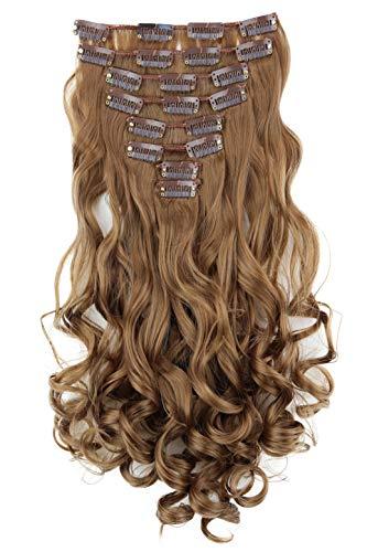 PRETTYSHOP XL 45cm 7 Teile Set CLIP IN EXTENSIONS Haarverlängerung Haarteil Voluminös Gewellt Goldblond CE17-1