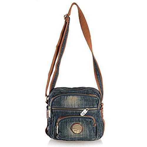 Donalworld Women Casual Jeans Denim Sport Messenger Shoulder Handbags Small Blue