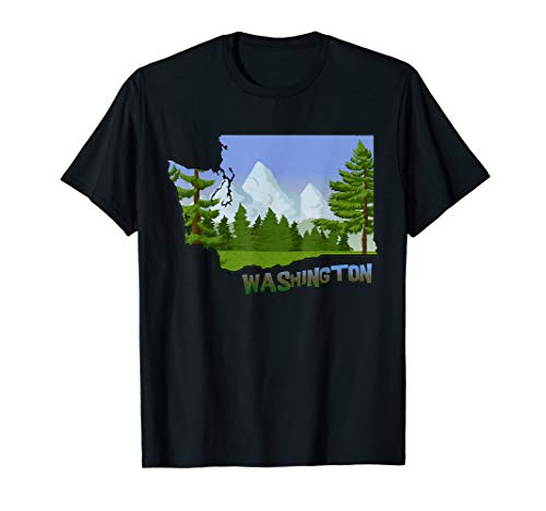 Washington State Outline with Forests & Mountains