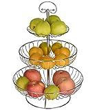 Obst Etagere 3 Stöckig, Obstkörbe aus Metall, Dekorativer Obstschalen Silber, 30 x...