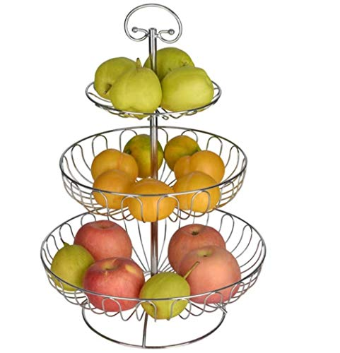 Obst Etagere 3 Stöckig, Obstkörbe aus Metall, Dekorativer Obstschalen Silber, 30 x 30 x 45 cm