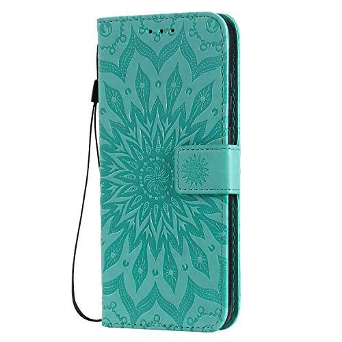 KKEIKO Hülle für Galaxy M11, PU Leder Brieftasche Schutzhülle Klapphülle, Sun Blumen Design Stoßfest HandyHülle für Samsung Galaxy M11 - Grün