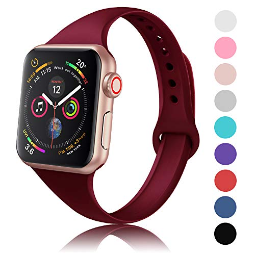 DYKEISS Sport Slim Silicone Band Compatible with Apple Watch 38mm 42mm 40mm 44mm, Thin Soft Narrow Replacement Strap Wristband Accessory for iWatch Series 1/2/3/4 (Wine Red, 38mm/40mm)