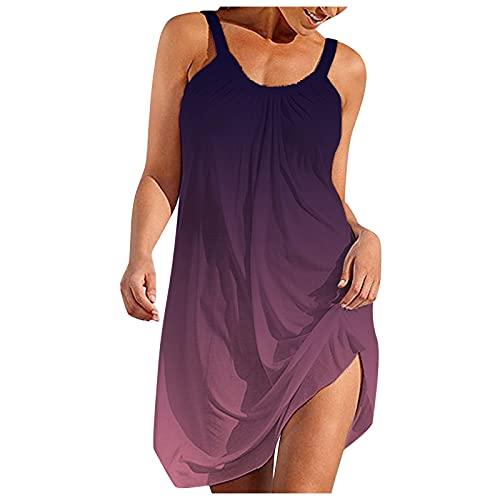 Damen Sommer Boho Kleid, V-Ausschnitt Ärmelloses Strandkleid, Wickelkleid, Kimono V-Ausschnitt Maxikleid Solid Loose Style Nachthemd...