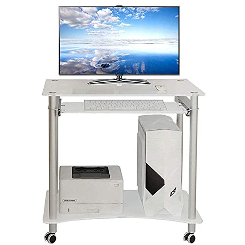 XBR Bärbart brickbord, stående dator arbetsstation, 2 nivåer rullande hem kontor datorskrivbord med tangentbordsbricka skrivare hylla stativ studiebord hörnskrivbord (färg: Vit, storlek: en storlek)